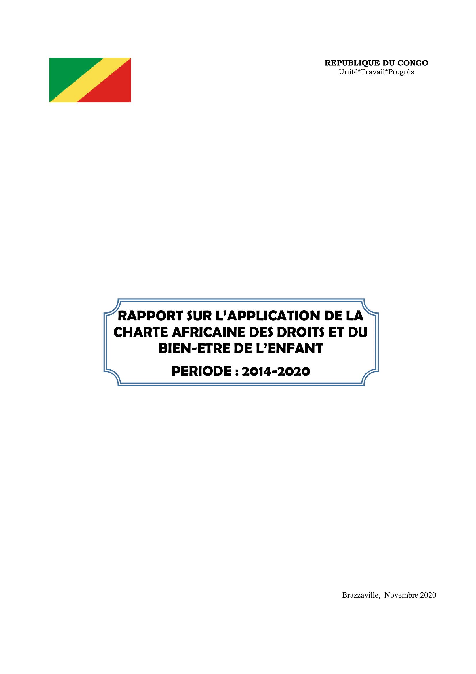 Rapport sur l'application de la charte africaine des droits et du bien-être de l'enfant : 2014-2020